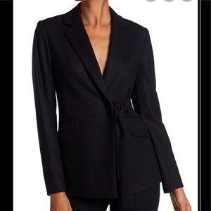 THEORY Tie Detail Blazer Size 2 Dark Navy Blue